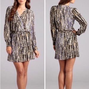 Parker • Printed Silk Wrap Long Sleeve Mini Dress